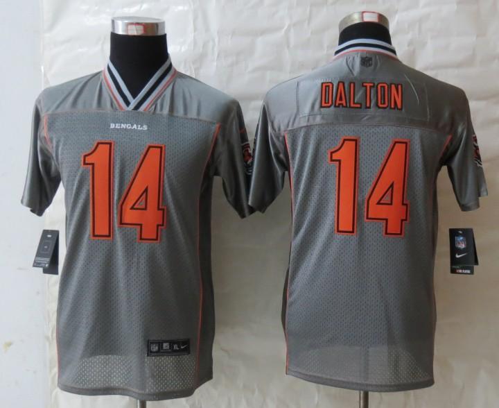 Youth 2013 NEW Nike Cincinnati Bengals 14 Dalton Grey Vapor Elite Jerseys