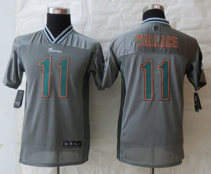 Youth 2013 New Nike Miami Dolphins 11 Wallace Grey Vapor Elite Jerseys