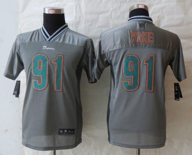Youth 2013 New Nike Miami Dolphins 91 Wake Grey Vapor Elite Jerseys