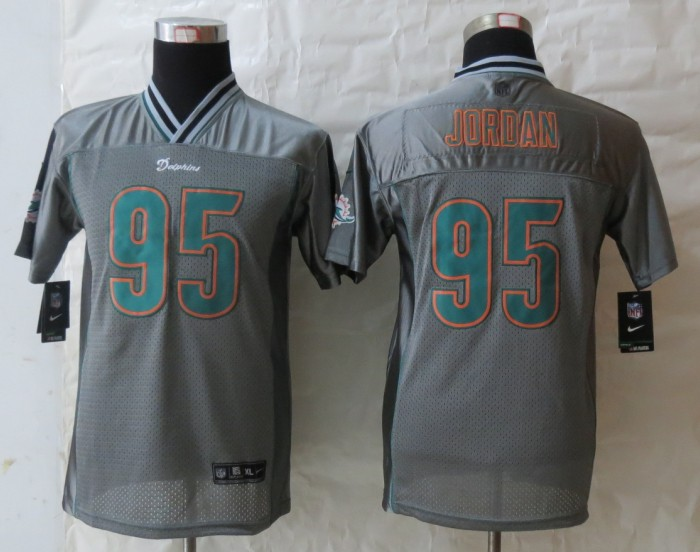 Youth 2013 New Nike Miami Dolphins 95 Jordan Grey Vapor Elite Jerseys