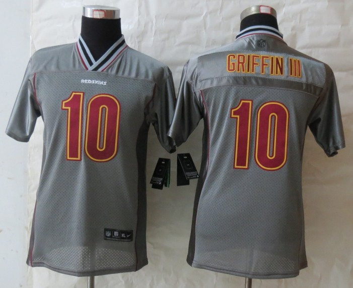Youth 2013 NEW Nike Washington Red Skins 10 Griffin III Grey Vapor Elite Jerseys