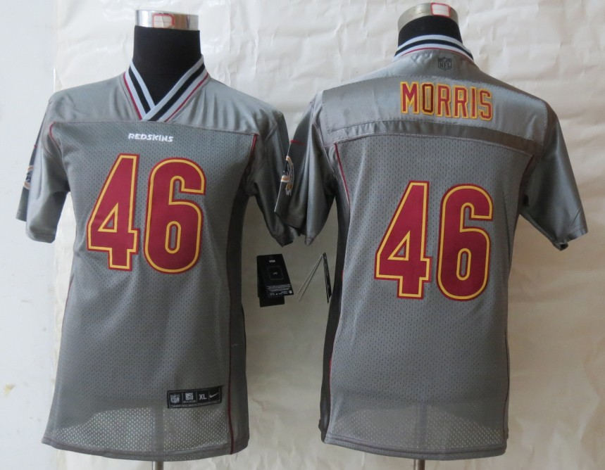 Youth 2013 NEW Nike Washington Red Skins 46 Morris Grey Vapor Elite Jerseys