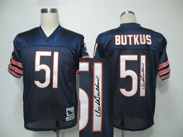 Chicago Bears 51 BUTKUS Blue With player signed Throwback Elite Jersey
