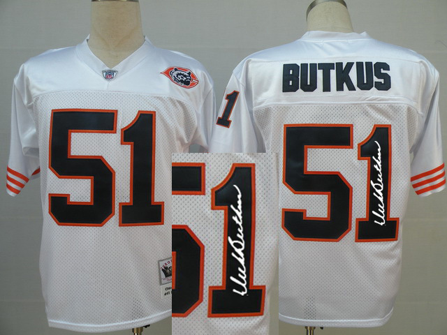 Chicago Bears 51 BUTKUS white with bear head With player signed Throwback Elite Jersey