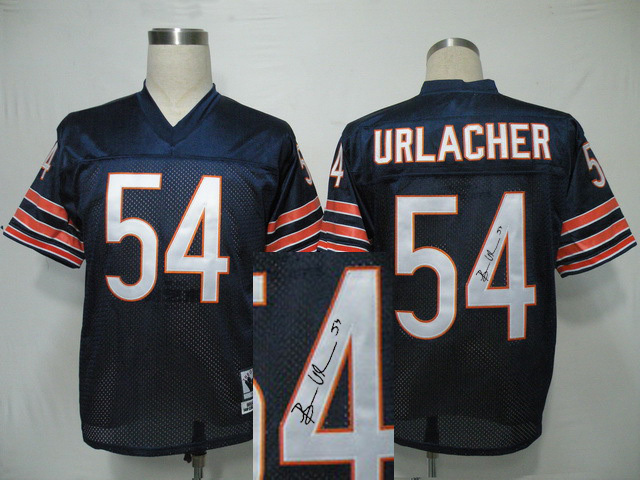 Chicago Bears 54 Urlacher Blue With player signed Throwback Elite Jersey