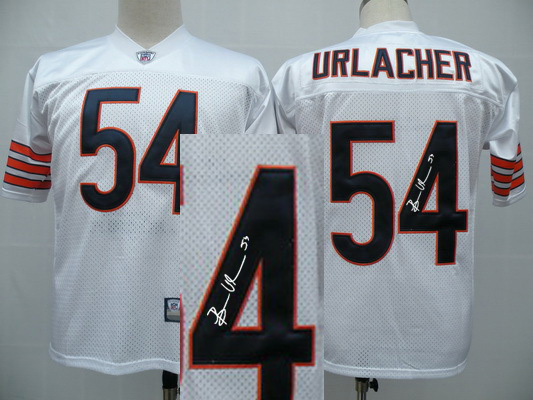 Chicago Bears 54 Urlacher White With player signed Throwback Elite Jersey