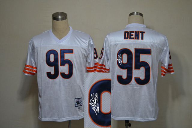 Chicago Bears 95 Dent White With player signed Throwback Elite Jersey