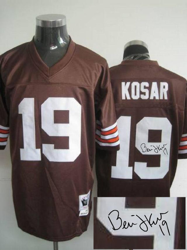 Cleveland Browns 19 Bernie Kosar Brown With player signed Throwback Elite Jersey