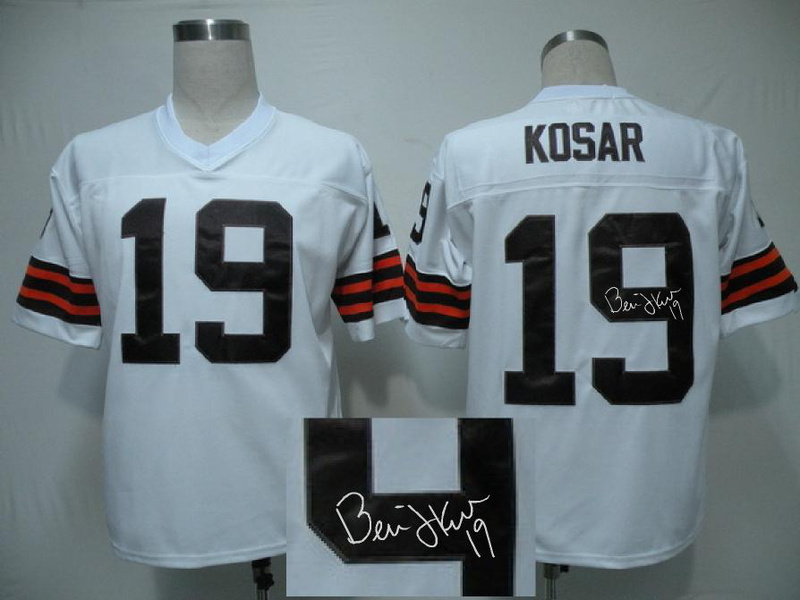 Cleveland Browns 19 Bernie Kosar White With player signed Throwback Elite Jersey