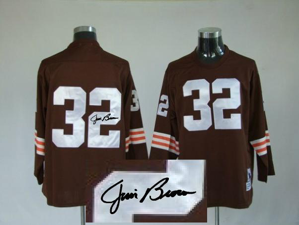 Cleveland Browns 32 Jim Brown Brown Long With player signed Throwback Elite Jersey