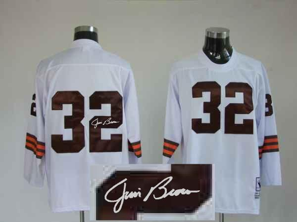 Cleveland Browns 32 Jim Brown White Long With player signed Throwback Elite Jersey
