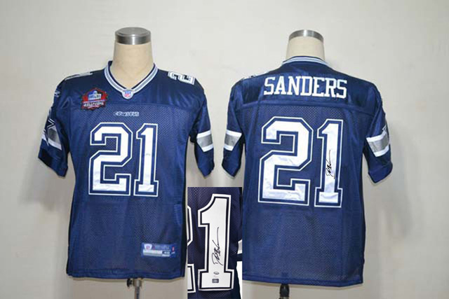 Dallas Cowboys 21 Sanders Blue With player signed Throwback Elite Jersey