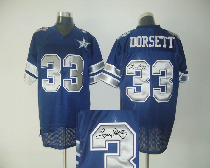 Dallas Cowboys 33 Tony Dorsett Blue With player signed Throwback Elite Jersey