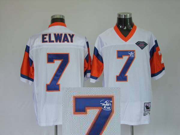 Denver Broncos 7 John Elway White 75th With player signed Throwback Elite Jersey