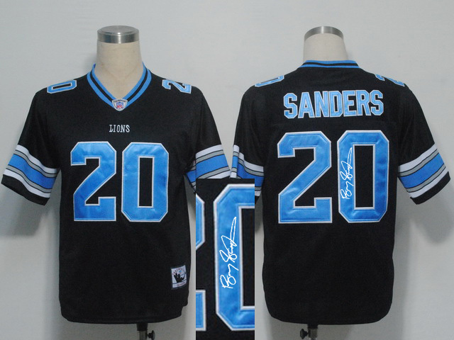 Detroit Lions 20 B.Sanders Black With player signed Throwback Elite Jersey