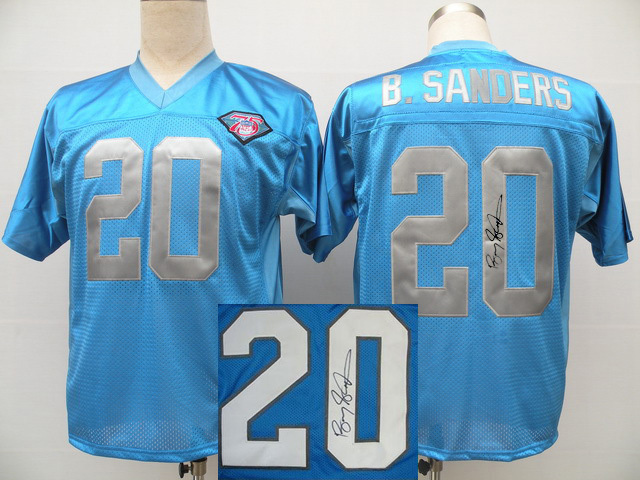Detroit Lions 20 B.Sanders Blue With player signed Throwback Elite Jersey