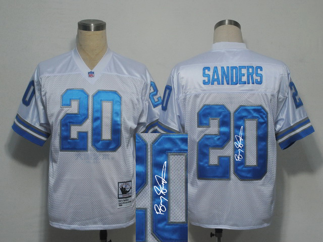 Detroit Lions 20 B.Sanders White With player signed Throwback Elite Jersey