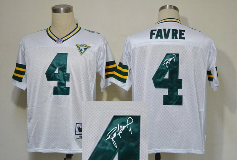 Green Bay Packers 4 Brett Favre White 75th With player signed Throwback Elite Jersey