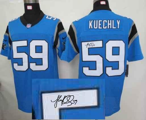 Nike Carolina Panthers 59 Kuechly Blue With player signed Elite Jersey