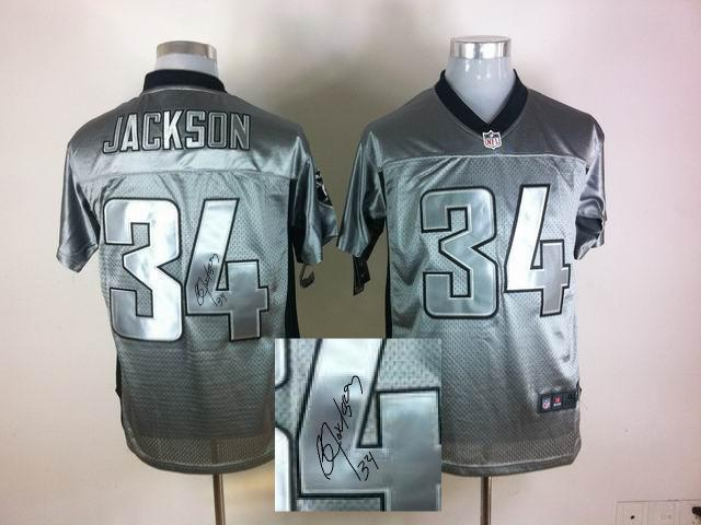 Nike Oakland Raiders 34 Bo Jackson Gray shadow With player signed Elite Jersey