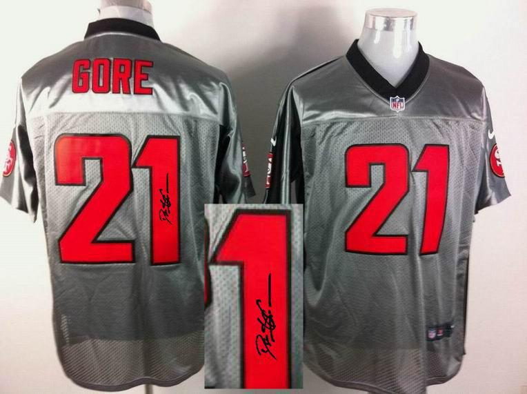 Nike San Francisco 49ers 21 Gore Gray shadow With player signed Elite Jersey