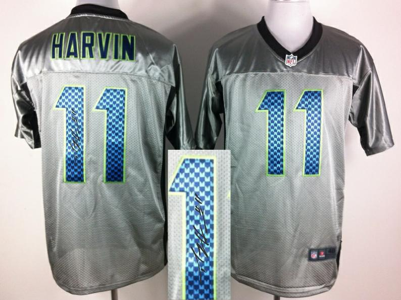 Nike Seattle Seahawks 11 Harvin Gray shadow With player signed Elite Jersey