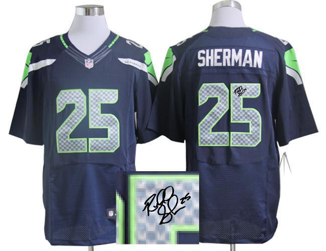 Nike Seattle Seahawks 25 Richard Sherman Blue With player signed Elite Jersey