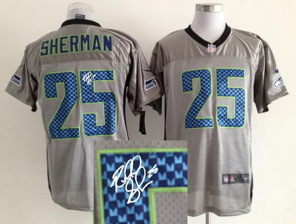 Nike Seattle Seahawks 25 Sherman Gray shadow With player signed Elite Jersey
