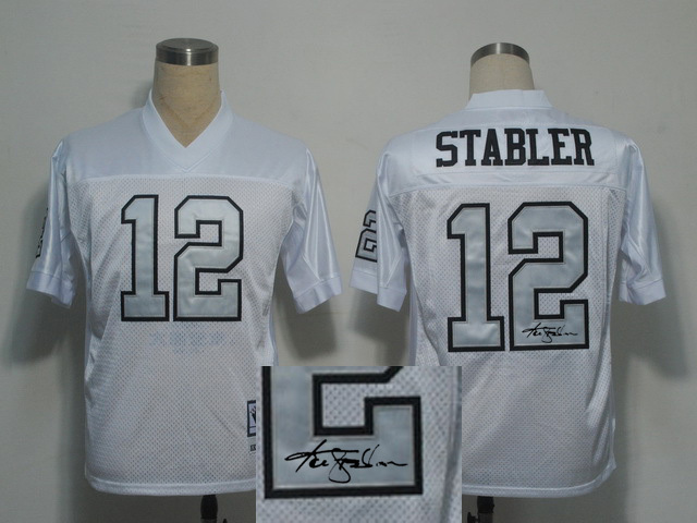 Oakland Raiders 12 Ken Stabler White With player signed Throwback Elite Jersey