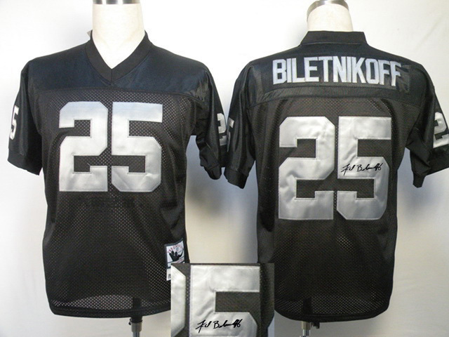 Oakland Raiders 25 Fred Biletnikoff Black With player signed Throwback Elite Jersey