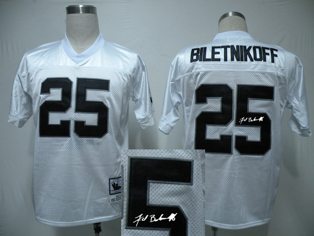 Oakland Raiders 25 Fred Biletnikoff White With player signed Throwback Elite Jersey