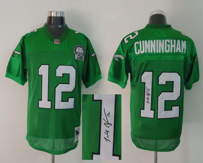 Philadelphia Eagle 12 Cunningham Green With player signed Throwback Elite Jersey