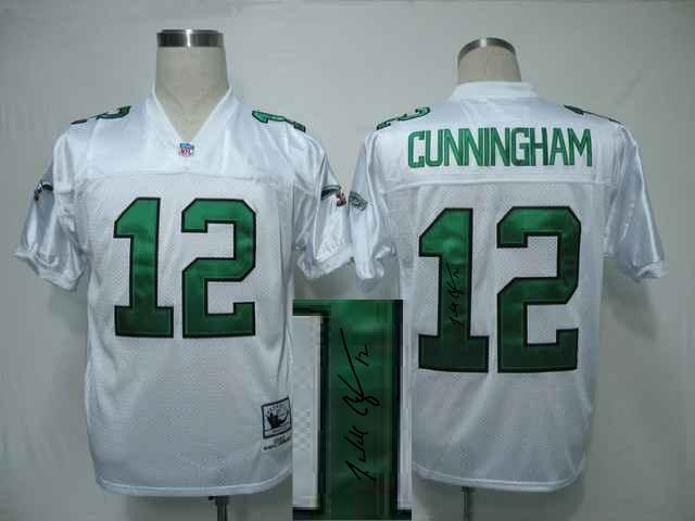 Philadelphia Eagle 12 Cunningham White With player signed Throwback Elite Jersey