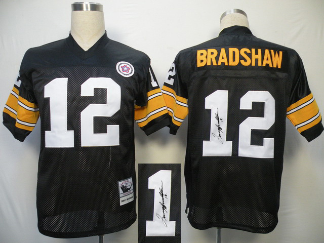 Pittsburgh Steelers 12 Bradshaw Black With player signed Throwback Elite Jersey