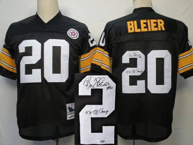 Pittsburgh Steelers 20 BLEIER Black With player signed Throwback Elite Jersey