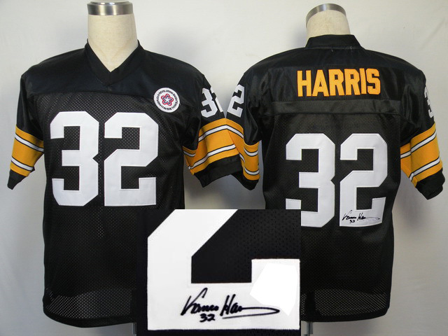 Pittsburgh Steelers 32 Franco Harris Black With player signed Throwback Elite Jersey