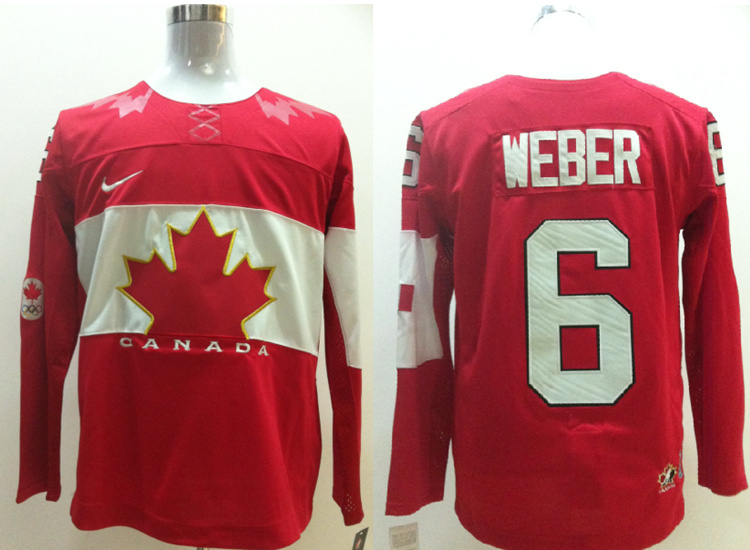 NHL 2014 Winter Olympics Team Canada 6 Shea Weber Red Jersey