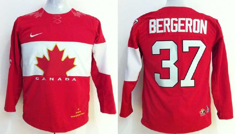 NHL 2014 Winter Olympics Team Canada 37 Patrice Bergeron Red Kids Jersey
