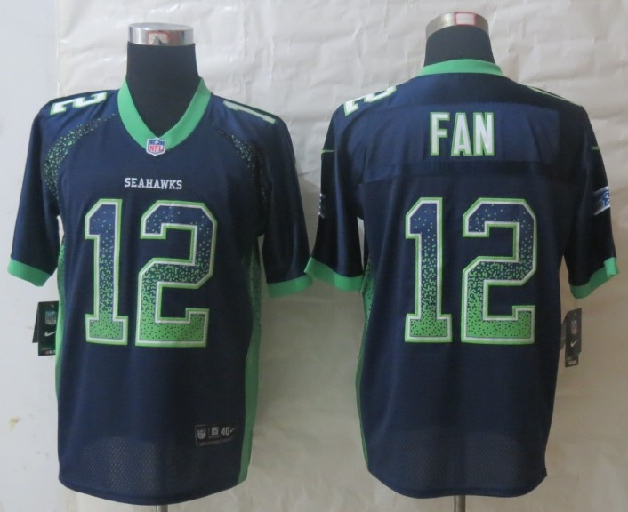 2013 New Nike Seattle Seahawks 12 Fan Drift Fashion Blue Elite Jerseys