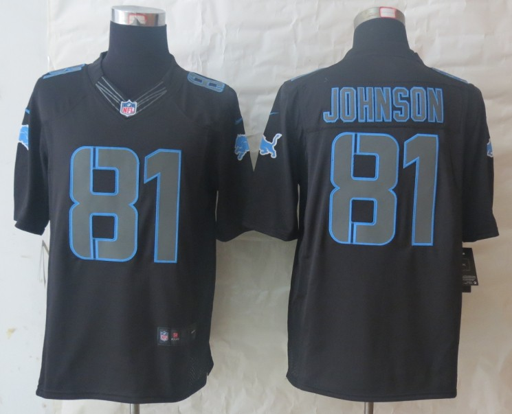 Nike Detroit Lions 81 Johnson Impact Limited Black Jerseys