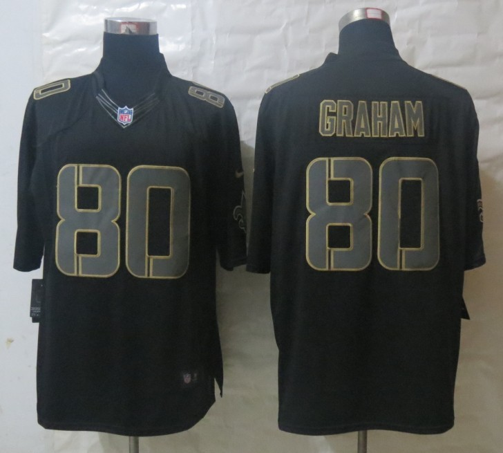 Nike New Orleans Saints 80 Graham Impact Limited Black Jerseys