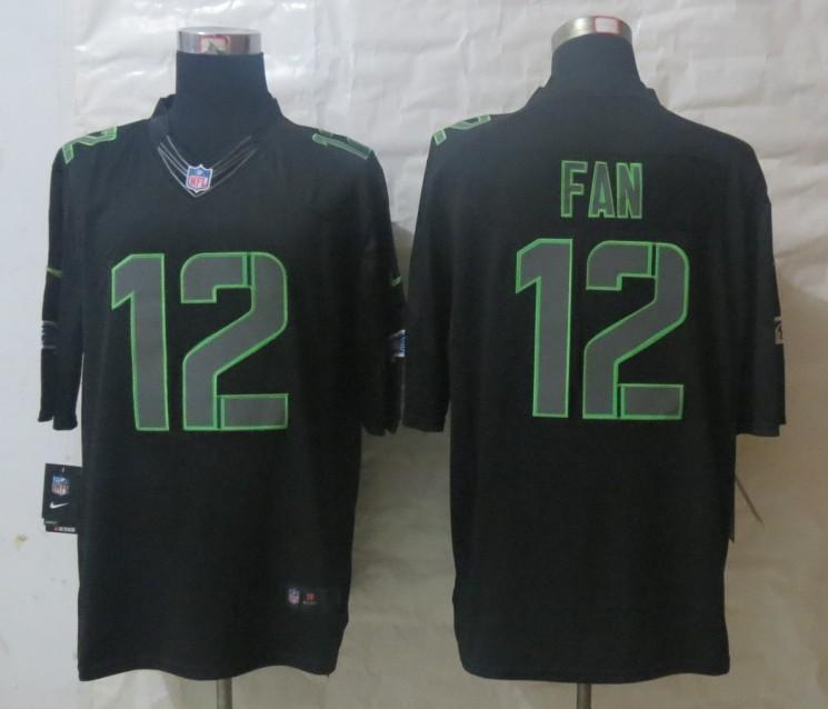 Nike Seattle Seahawks 12 Fan Impact Limited Black Jerseys