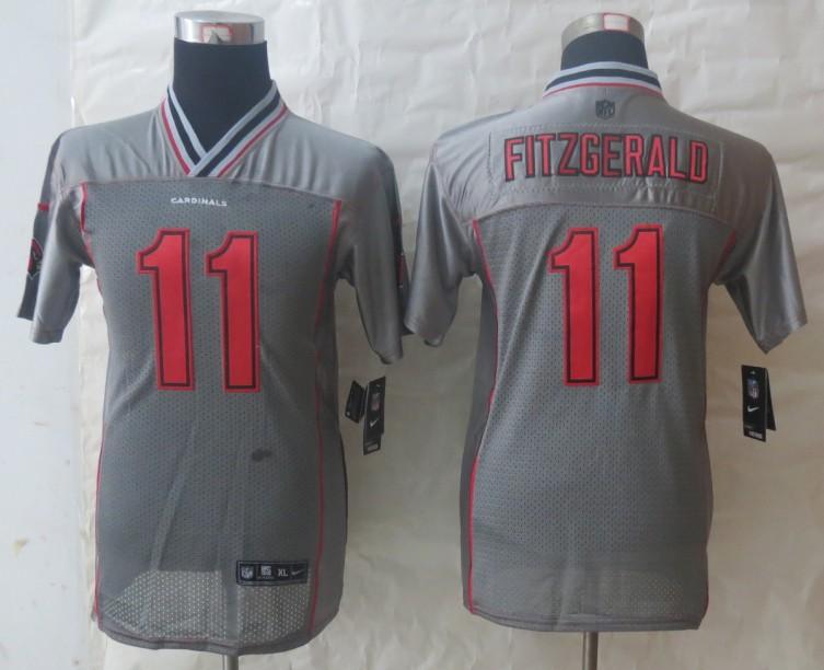 Youth 2013 NEW Nike Arizona Cardicals 11 Fitzgerald Grey Vapor Elite Jerseys