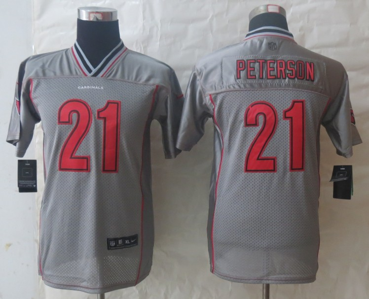 Youth 2013 NEW Nike Arizona Cardicals 21 Peterson Grey Vapor Elite Jerseys