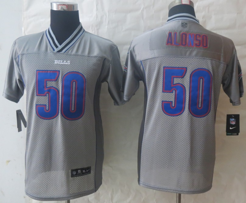 Youth 2013 NEW Nike Buffalo Bills 50 Alonso Grey Vapor Elite Jerseys