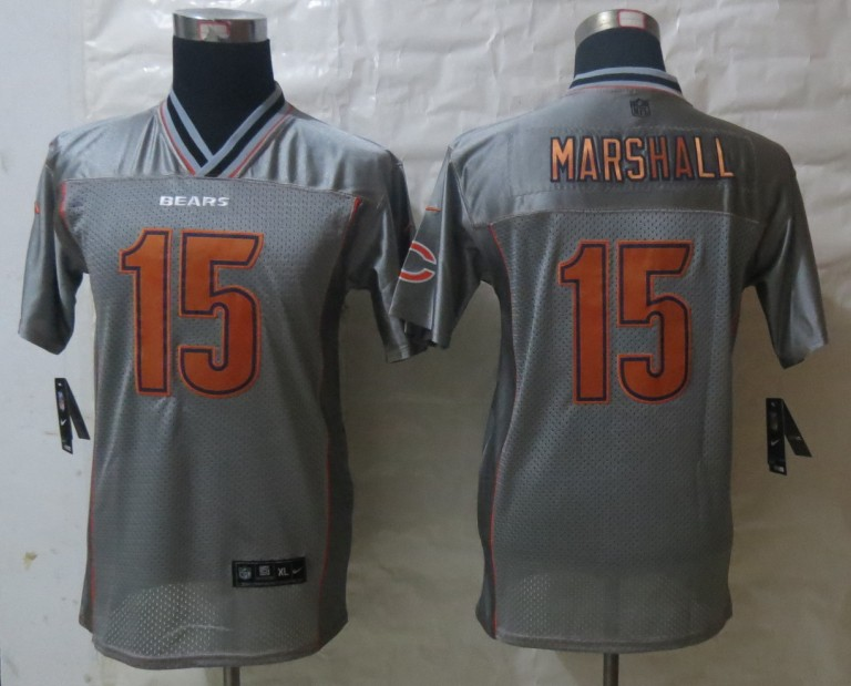 Youth 2013 NEW Nike Chicago Bears 15 Marshall Grey Vapor Elite Jerseys