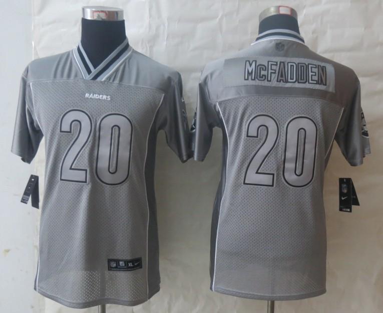 Youth 2013 New Nike Oakland Raiders 20 McFadden Grey Vapor Elite Jerseys