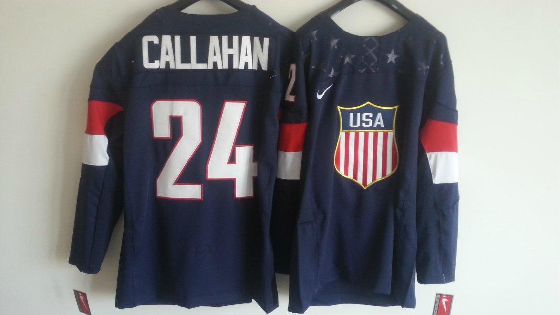 NHL 2014 Winter Olympic Team USA 24 Callahan Blue Hockey Jersey