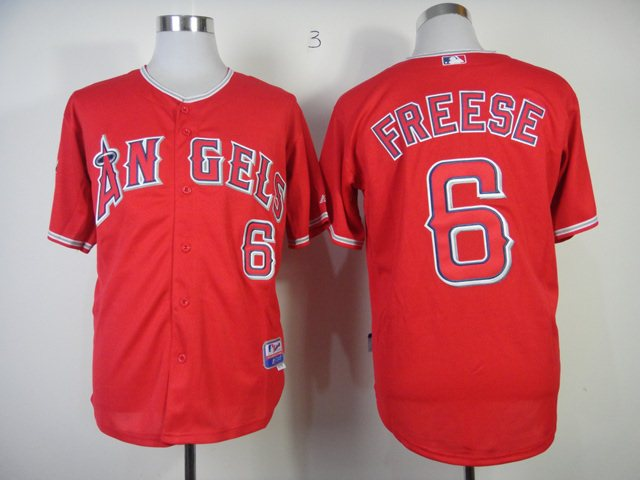 MLB Los Angeles Angels 6 Freese red jerseys