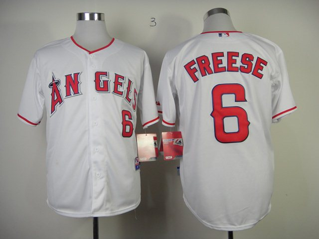 MLB Los Angeles Angels 6 Freese white jerseys